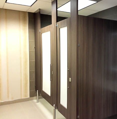 Bathroom Partition picture for category color thru phenolic bathroom partitions Ironwood Manufacturing Door Lite Toilet Partition With Frosted Acrylic Insert