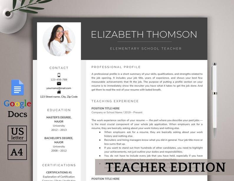 Google Docs Resume Template Teacher Resume Template Google Etsy Teacher Resume Template Resume Template Word Resume Words