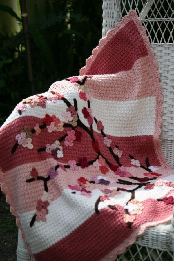 Crochet Cherry Blossom Baby Blanket Tutorial done in pink and grey ...