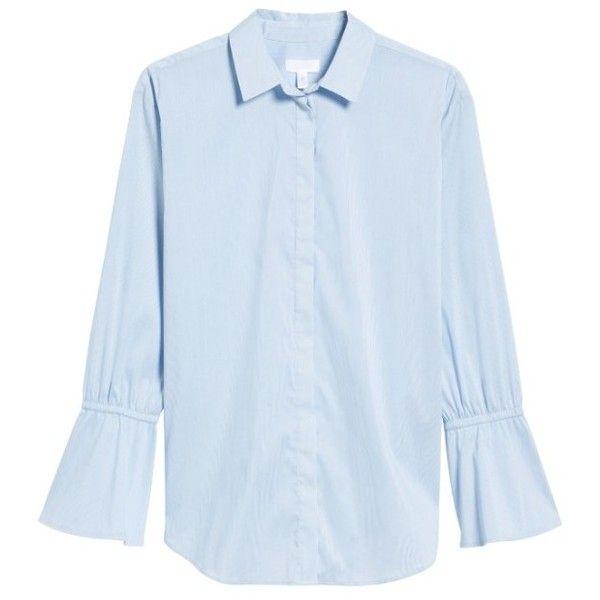 fcdb801e7 Women's Treasure & Bond X Something Navy Ruffle Cuff Tunic (1.066.580 IDR)  ❤ liked on Polyvore featuring tops, tunics, navy top, navy pinstripe shirt,  ...