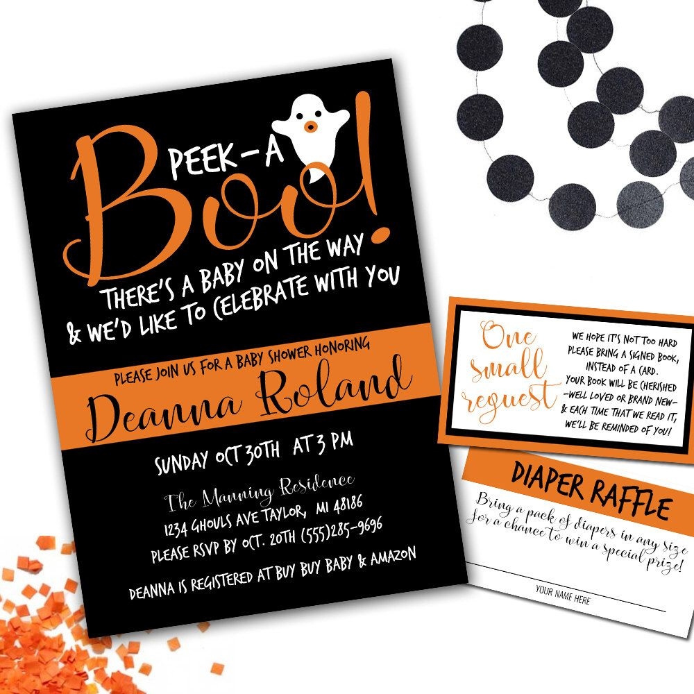Printable Peek-A-Boo Baby Shower Invitation, Halloween Baby Shower ...