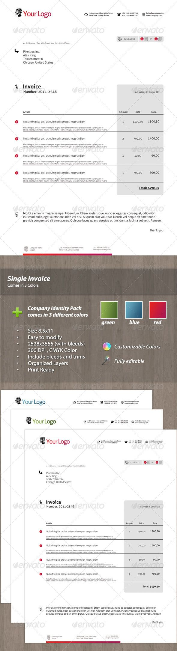 Modern Single Invoice Fonts Stationery And Paper