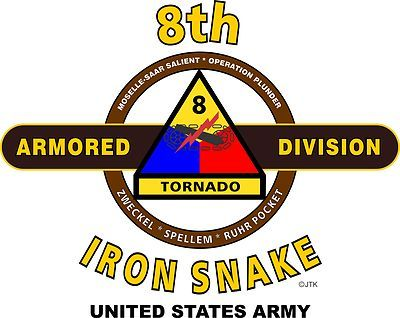 """8th Armored Division """" Iron Snake """" United States Army Shirt.  World War II  Mediterranean & European Campaigns: Rhineland* Ardennes-Alsace*Central Europe.  (August 1945 Location: Gottingen, Germany)  (Killed In Action:393)  (Wounded In Action: 1,572)  (Died Of Wounds: 73)"""