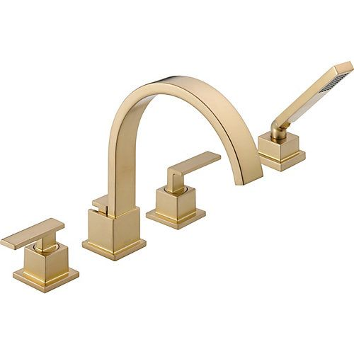 Vero 2 Handle Roman Bath Faucet With Hand Shower In Champagne Bronze Finish