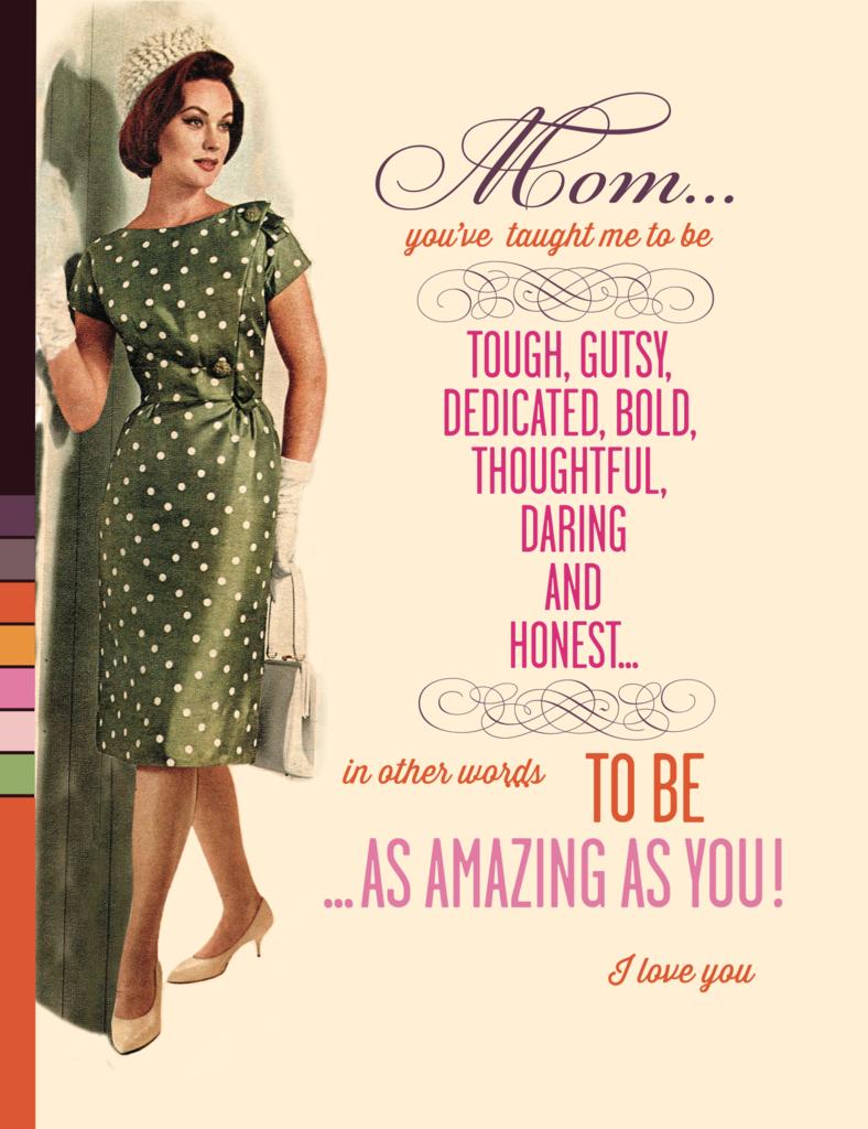 f14b5781f2497 Mom: Tough, Gusty, Dedicated, Bold Retro Style Greeting Card ...