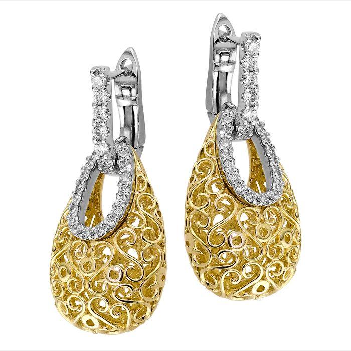 Jewellery > Earrings > Yellow Gold Filigree Design Diamond ...