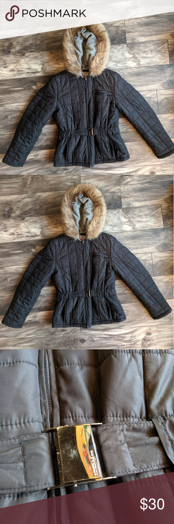 Izod Jacket Izod Performancex Jacket Black With Fur Hoodie Attached Belt Hardware Has Some Scratches Shown In Picture Coz Fur Hoodie Clothes Design Fashion [ 1740 x 580 Pixel ]