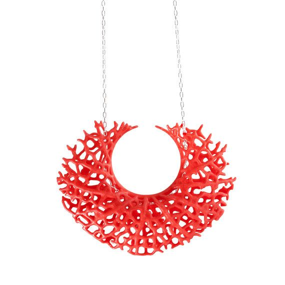 Vessel Pendant  red 3dprinted nylon and sterling by nervoussystem
