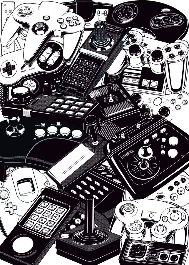 gamefreaksnz: Joysticks & Controllers | Yves-José Malgorn Illustration of joystcks and controllers, from the most famous video game consoles : Atari Jaguar, Atari 2600, Atari 5200, Atari 7800, ColecoVision, Magnavox, Nintendo Gamecube, Nintendo N64, Nintendo Super Famicom, Nintendo Wii, Panasonic 3DO, Sega Master System, Sega Dreamcast, Sega Genesis, Sega Saturn, SNK Neo Geo, Sony PlayStation, TurboGrafx-16, Microsoft Xbox 360.