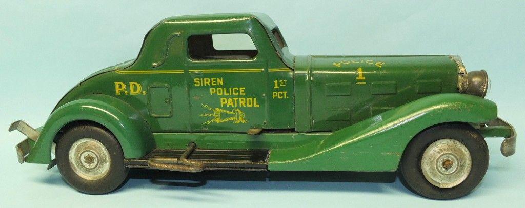 Antique 1930s Marx Siren Police Patrol Windup Toy Car W Headlights