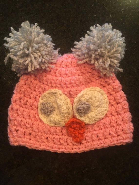 Kleine Mädchen Rosa Eule Hut gehäkelt von CaitsCrochetCo auf Etsy ...