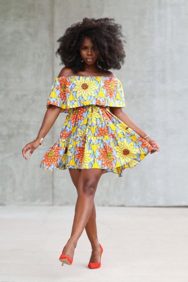 African Print Senegal Midi Dress: Yellow African Print Midi Dress