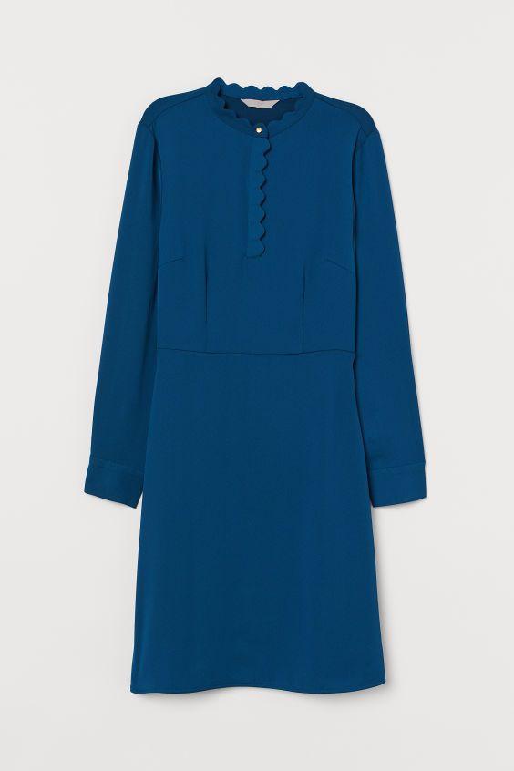 Kleid mit Wellenkanten - Dunkelblau - Ladies   H&M DE ...