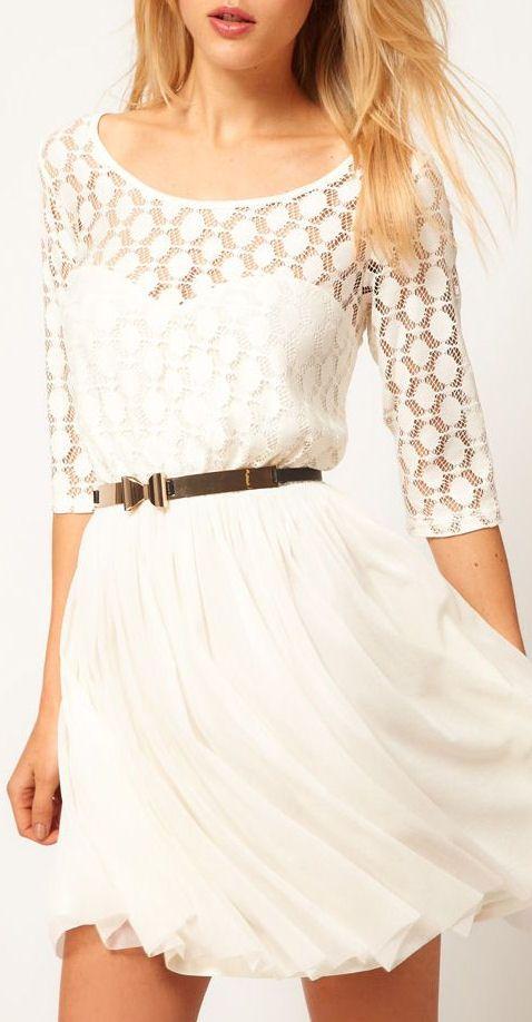 White Lace Chiffon Dress //