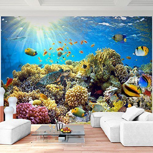 Tapisserie Photo Récif de corail Laine papier peint Salon Chambre