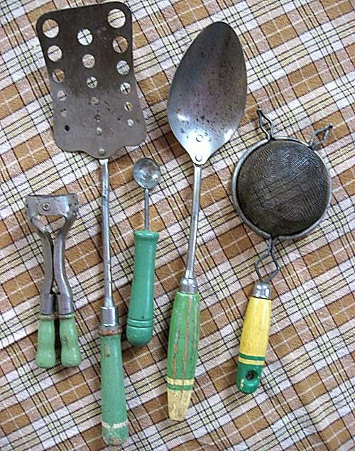 Group of 5 Vintage Kitchen Utensils, Tools with Jade Green Wooden ...