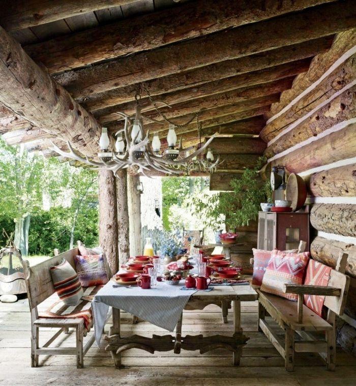 porches diseno estilo rustico mesa grande ideas - Porches Rusticos