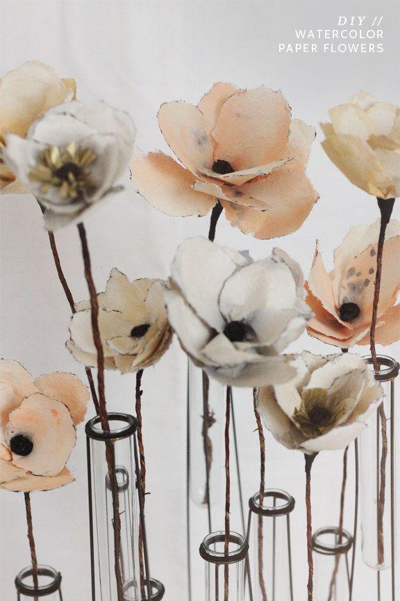 Diy Watercolor Paper Flowers Diy Art Projects Diy Art Paper