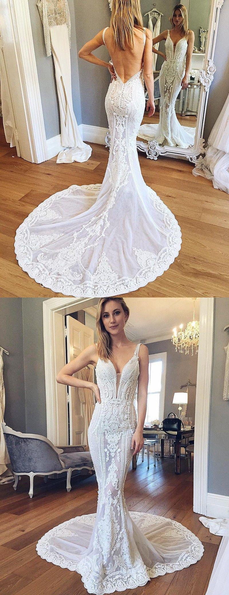 Mermaid V-Ausschnitt Rückenfrei Gericht Schleppe Hochzeitskleid mit ...