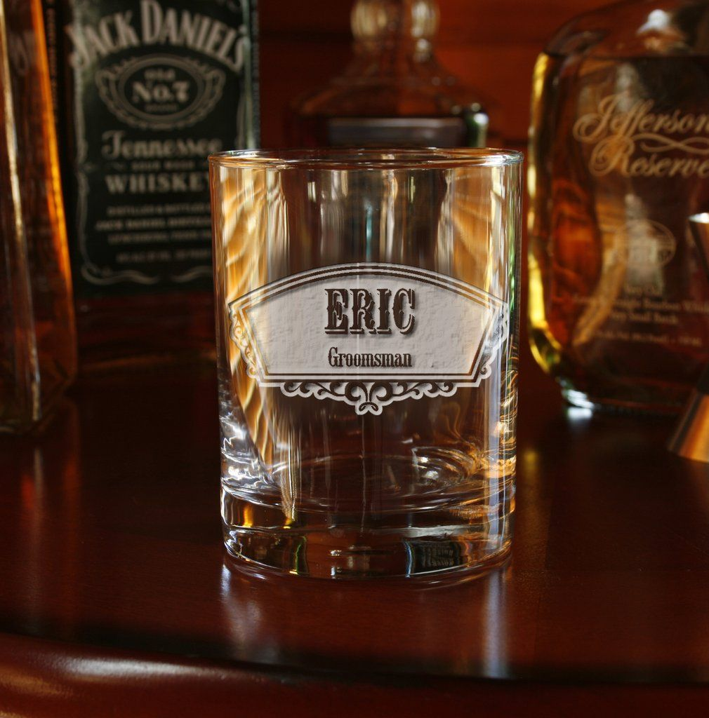 Groomsman Arched Panel Whiskey Glass Personalized