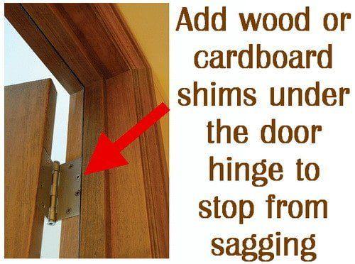 Add cardboard shims to door hinges to stop sagging  sc 1 st  Pinterest & How To Fix A Door That Is Sagging Or Hitting The Door Frame | Door ...