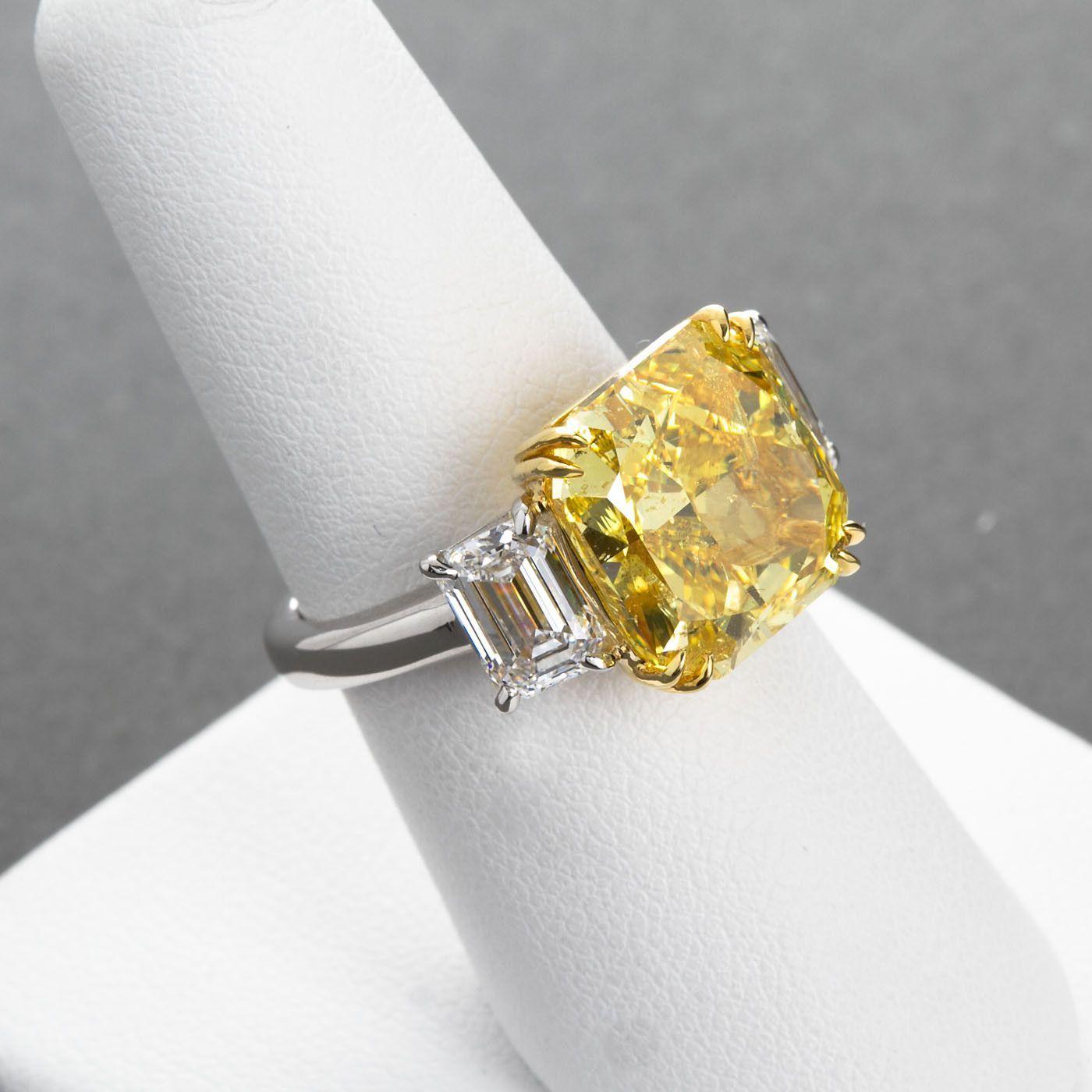carat fancy vivid yellow radiant cut diamond engagement ring