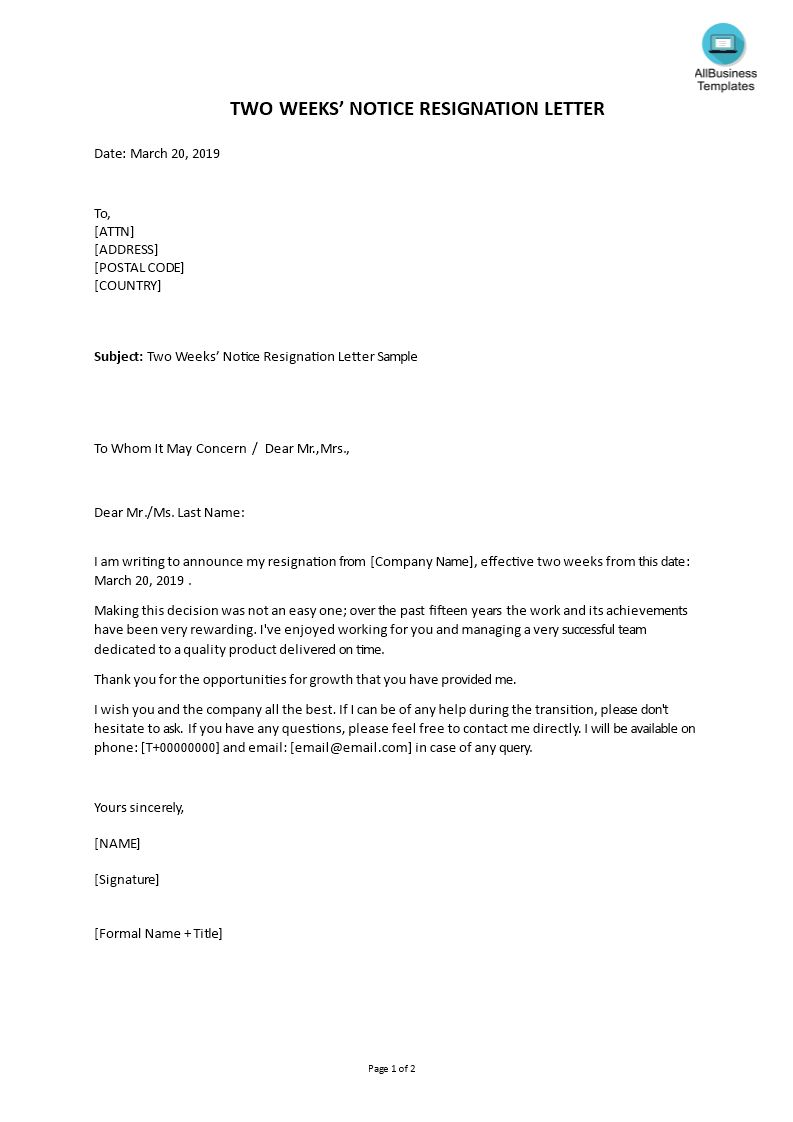 Two Weeks Notice Resignation Templates At pertaining to