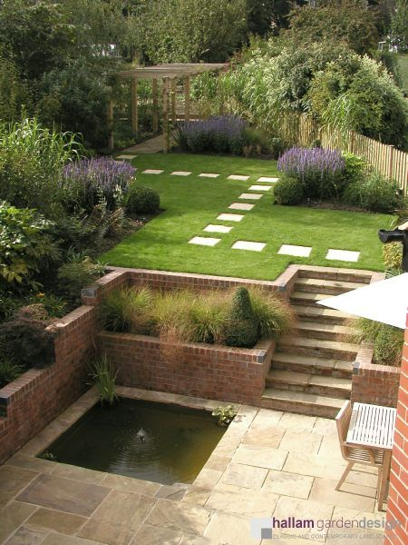 garden sloping towards house - Google Search   Sloped ... on Patio Ideas For Sloping Gardens id=78626