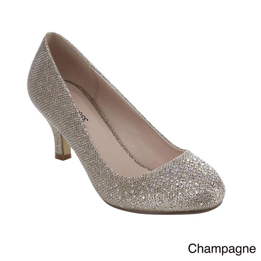 62dba86f4827 Bonnibel Wonda-1 Women s Low Heel Glitter Slip-on Dress Pumps - Overstock™  Shopping - Great Deals on Heels
