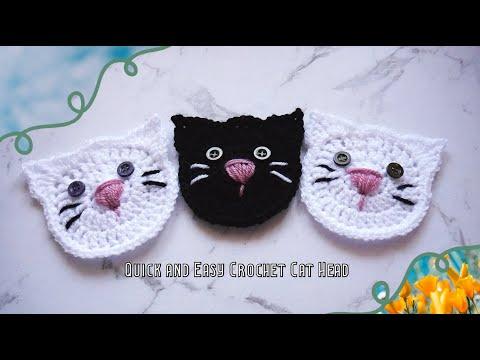Quick and Easy Crochet Cat Head 🐈🌷