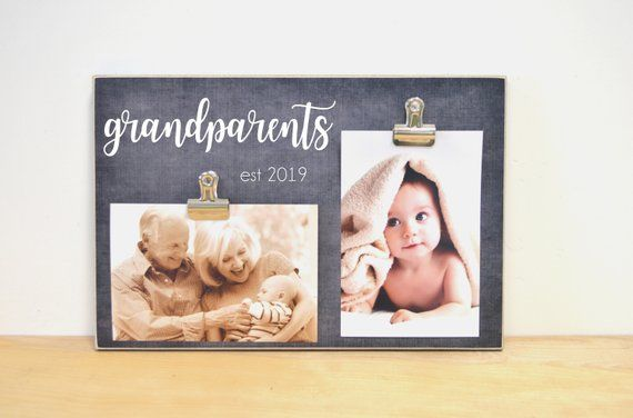 Grandparents Photo Frame, Grandparents Est, Custom Picture Frame Grandparent Gift, Wood Photo Clip F #grandparentphoto