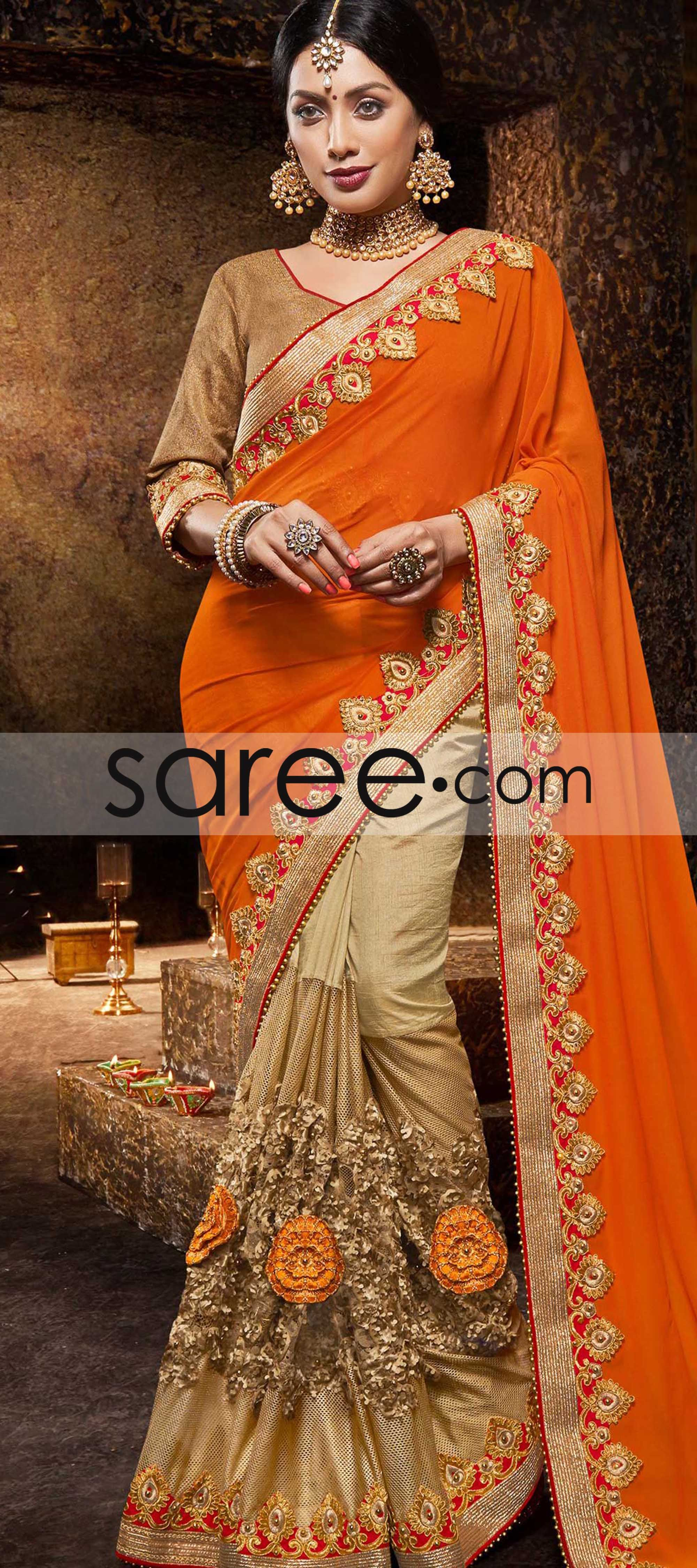 Orange and beige georgette saree with zari embroidery work