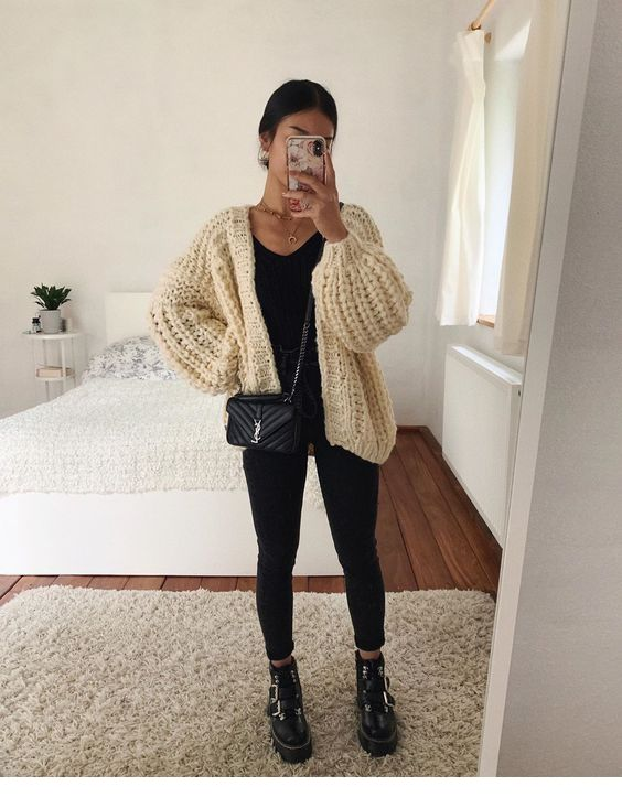 Knitted cardigan, black pants LadyStyle | Fashion outfits