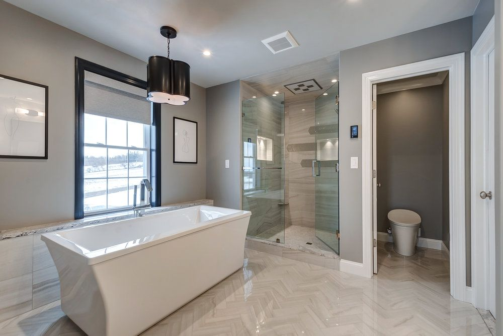 Master Bathroom With Free Standing Soaker Tub High Tech Shower