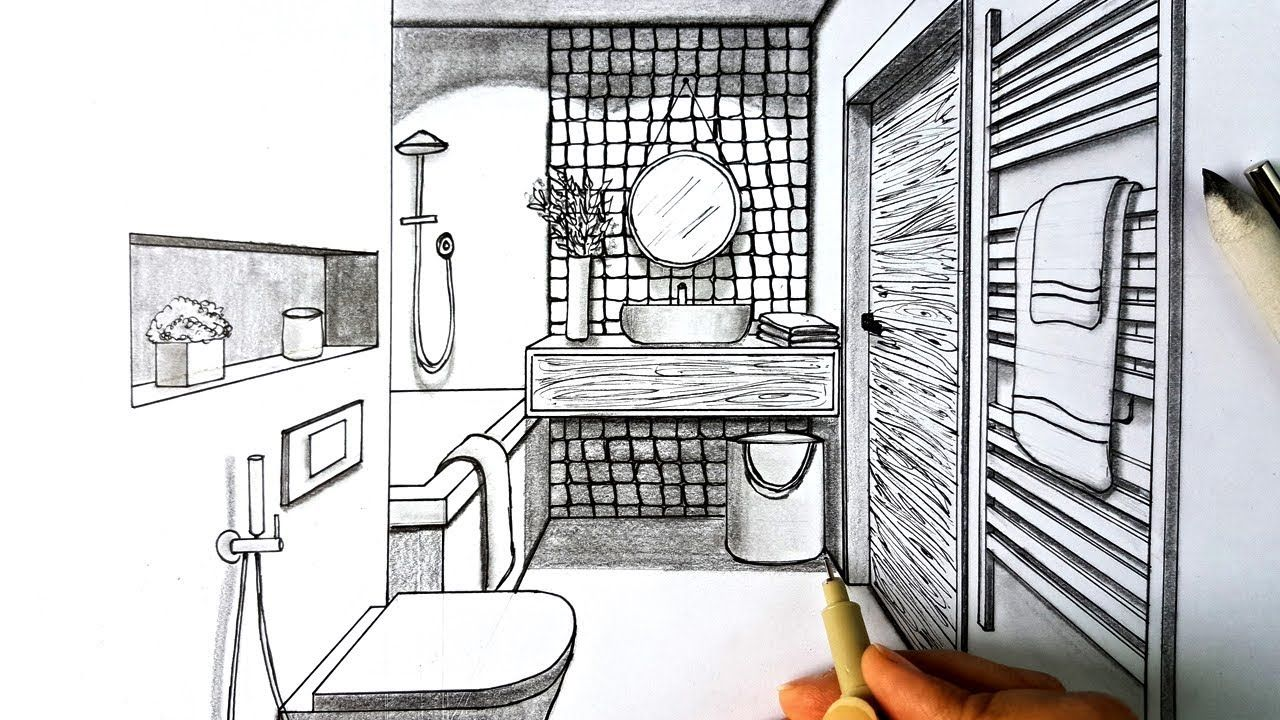 Drawing A Bathroom In One Point Perspective Timelapse Practice One Point Perspective Perspective Drawing Point Perspective
