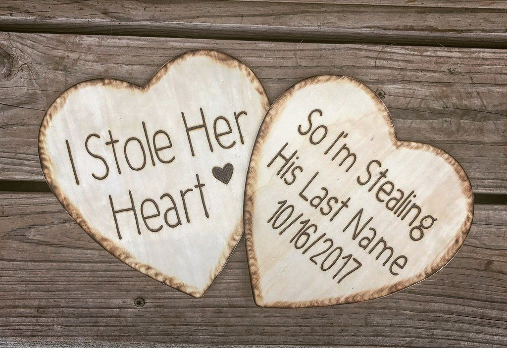 I Stole Her Heart Engagement Photo Prop Burlap And Lace