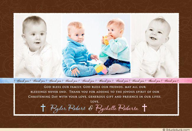 Three Photo Baptism Thank You Card Customizable Text Photo