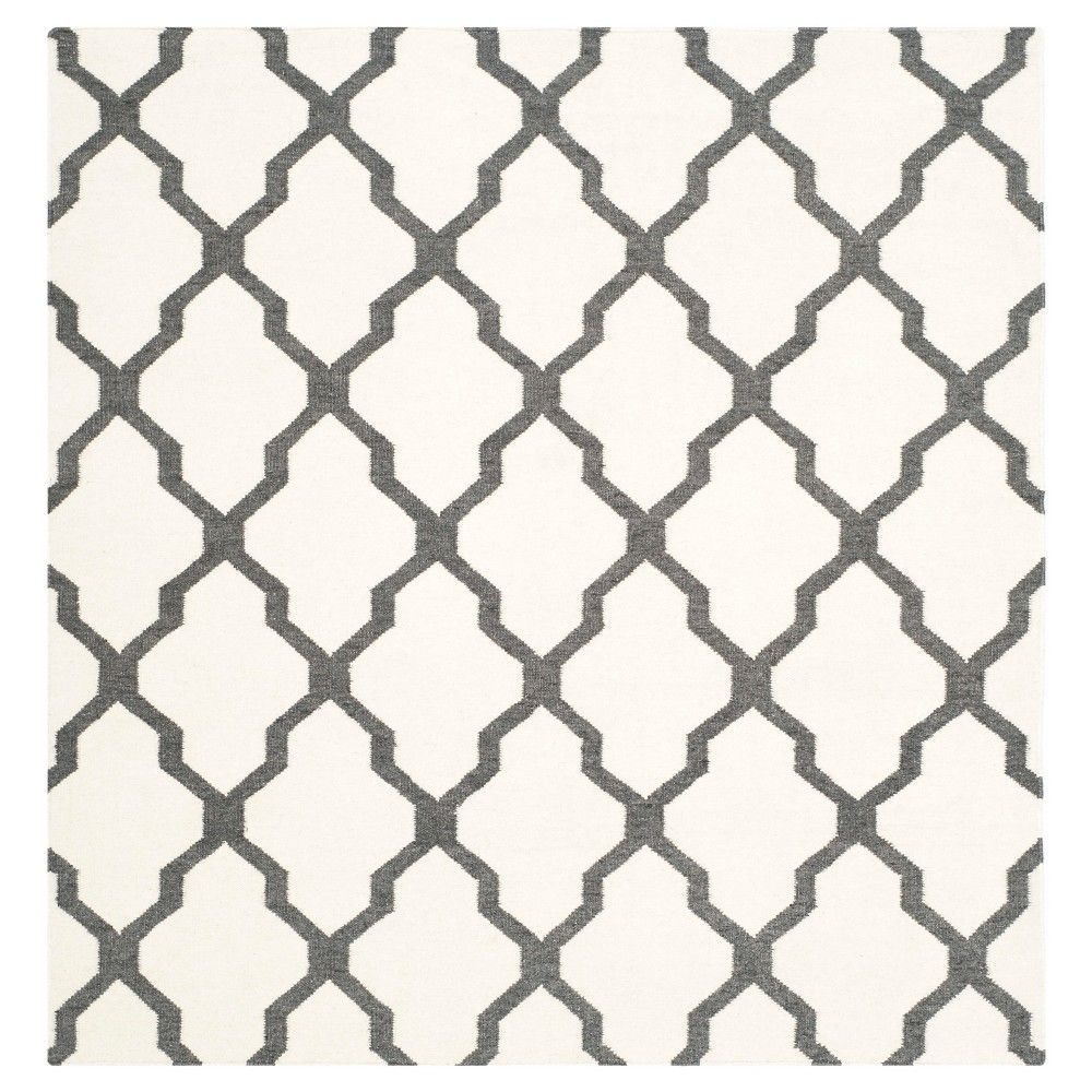 Dhurries Rug - Ivory/Charcoal (Ivory/Grey) - (6'x6' Square) - Safavieh