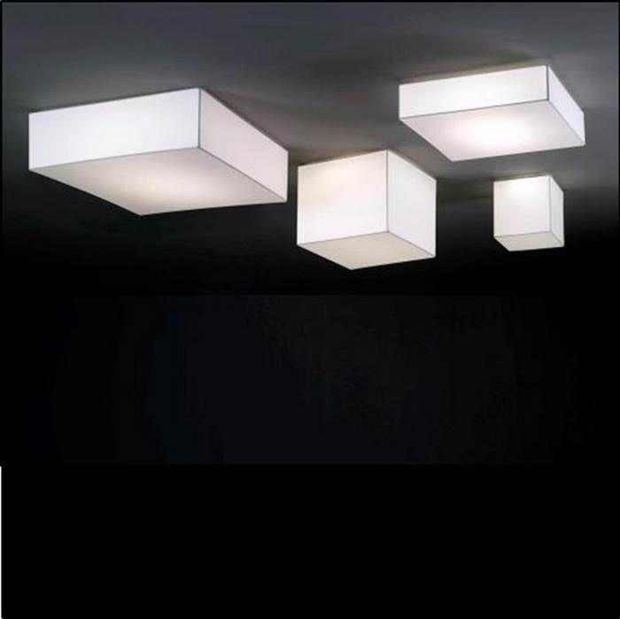 Plafoniere Per Casa.Plafoniera Moderna Quadrata In Metallo In Tessuto