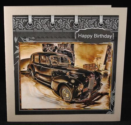 Vintage car card with shaped layers on Craftsuprint designed by Angela Wake - made by Yvonne Middleton -
