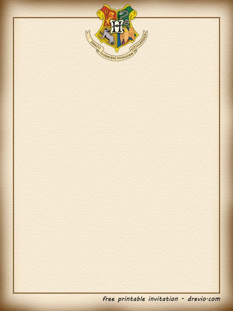 FREE Printable Harry Potter – Hogwarts Invitation Template ...