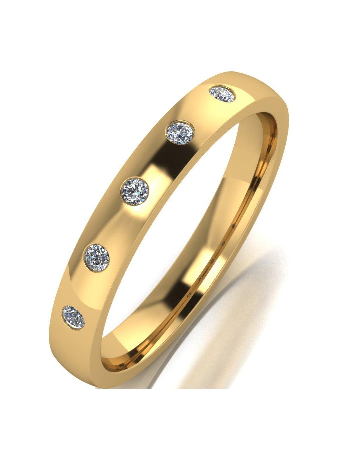 Love Diamond 9ct Gold 10 Point Diamond Set 4mm Court Wedding Band In White Gold White Gold Wedding Bands Gold Wedding Bands