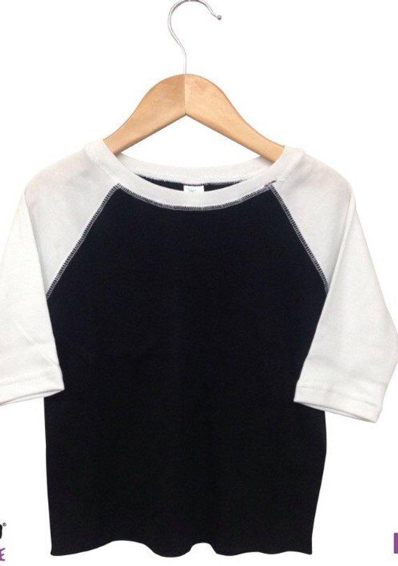 530144c1c Upgrade blank baseball tee raglan t shirt 3/4 sleeve white gray grey black  toddler youth kids adult