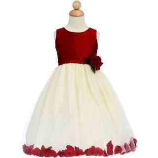 Red and White Sleeveless Sash Flower Decoration Satin Flower Girl Dress For the rose theme