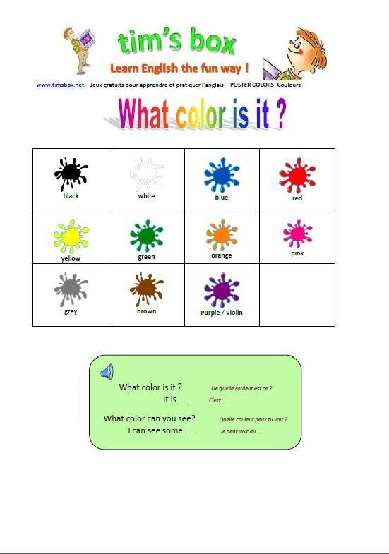 timsbox poster colours school pinterest anglais la primaire et activit s enfants. Black Bedroom Furniture Sets. Home Design Ideas