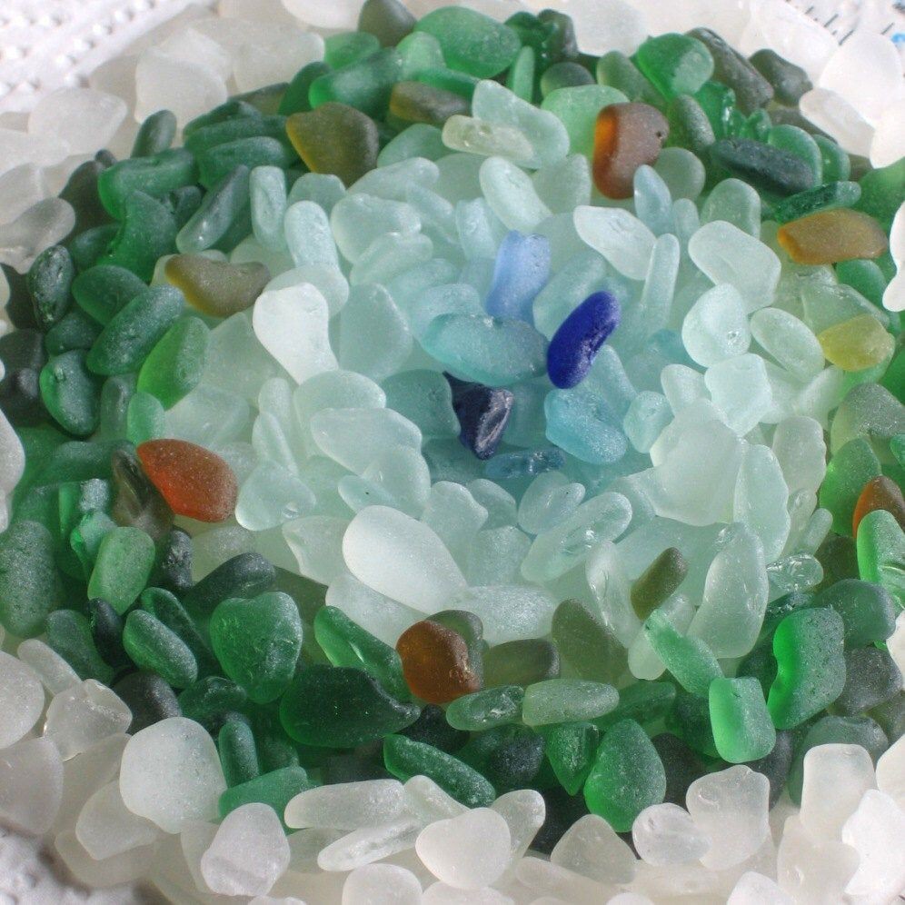 400 small sea glass shards chips imperfections art mosaic