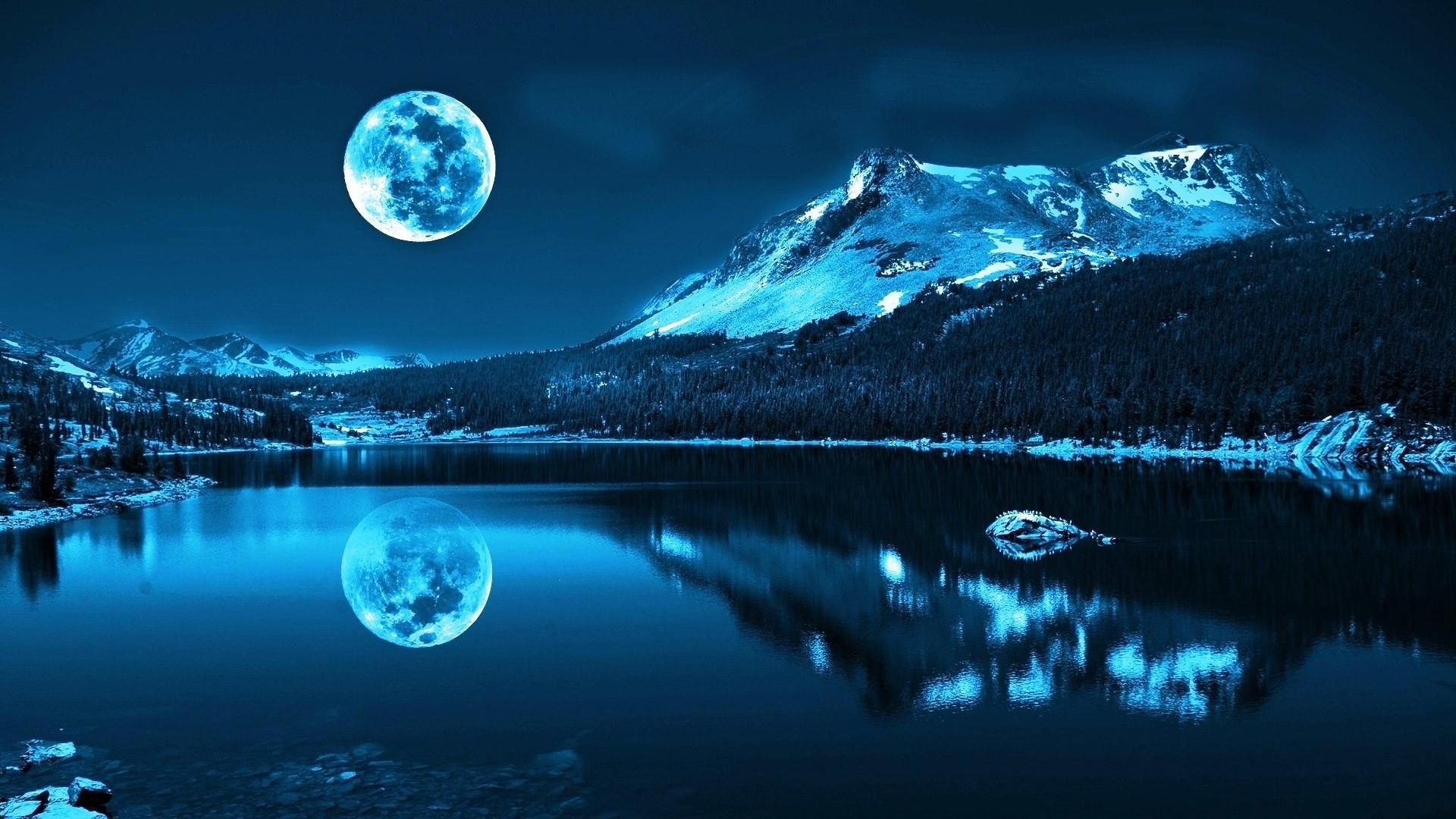 mountain moon lake hd wallpapers desktop backgrounds
