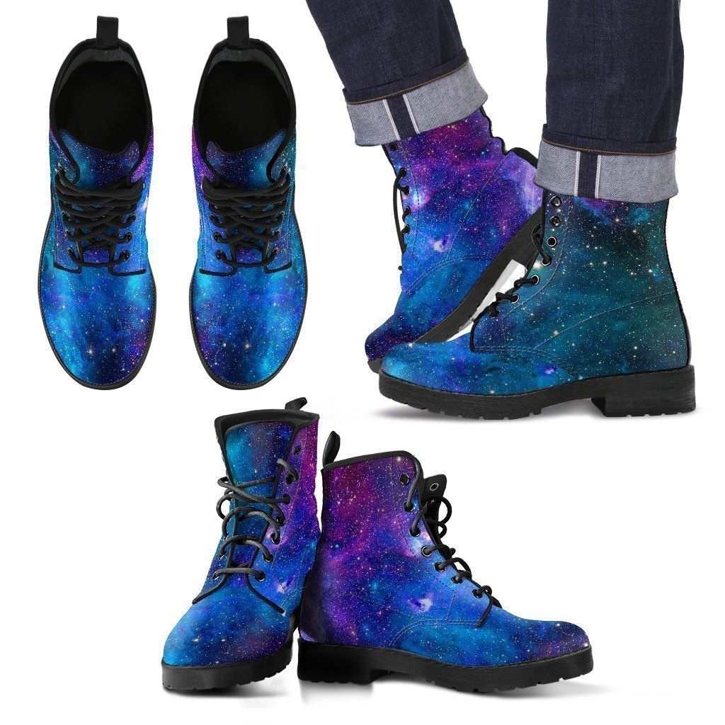 Teal Purple Stardust Galaxy Space Print Men's Boots In