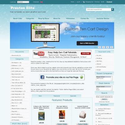 Preston Elite Free Zen Cart Template Custom Zen Cart Design Ecommerce Web Design Zen Cart Templates By Picafl Ecommerce Web Design Free Web Design Templates