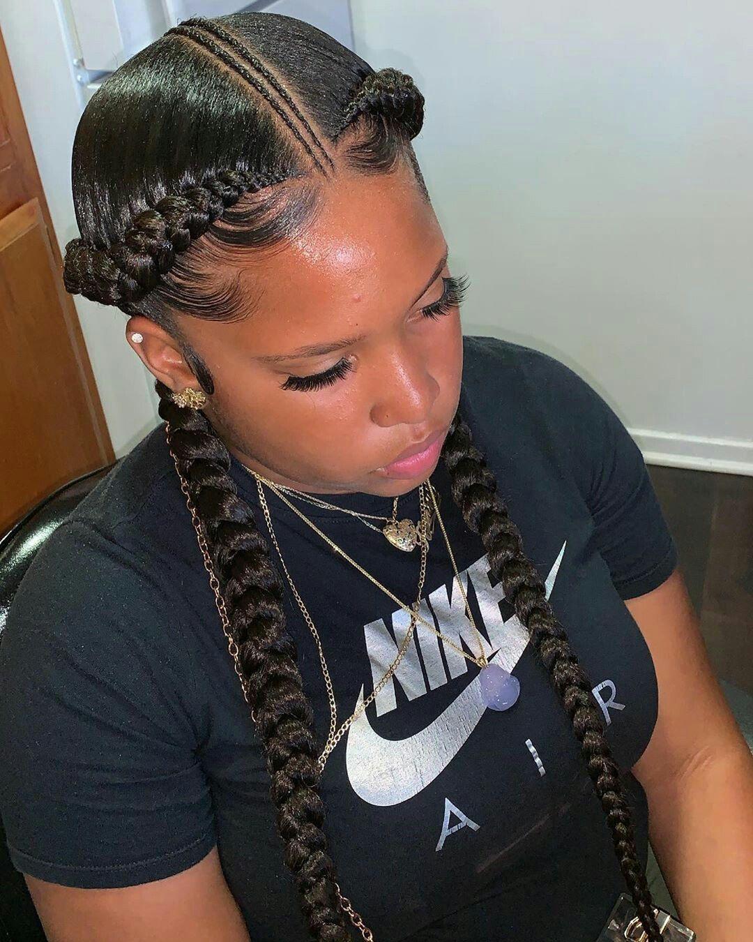 Follow Miahpapayaaa For More Pins Two Braid Hairstyles Goddess Braids Hairstyles Feed In Braids Hairstyles